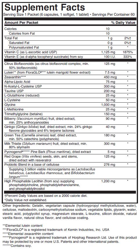 Detox PAK supplement facts