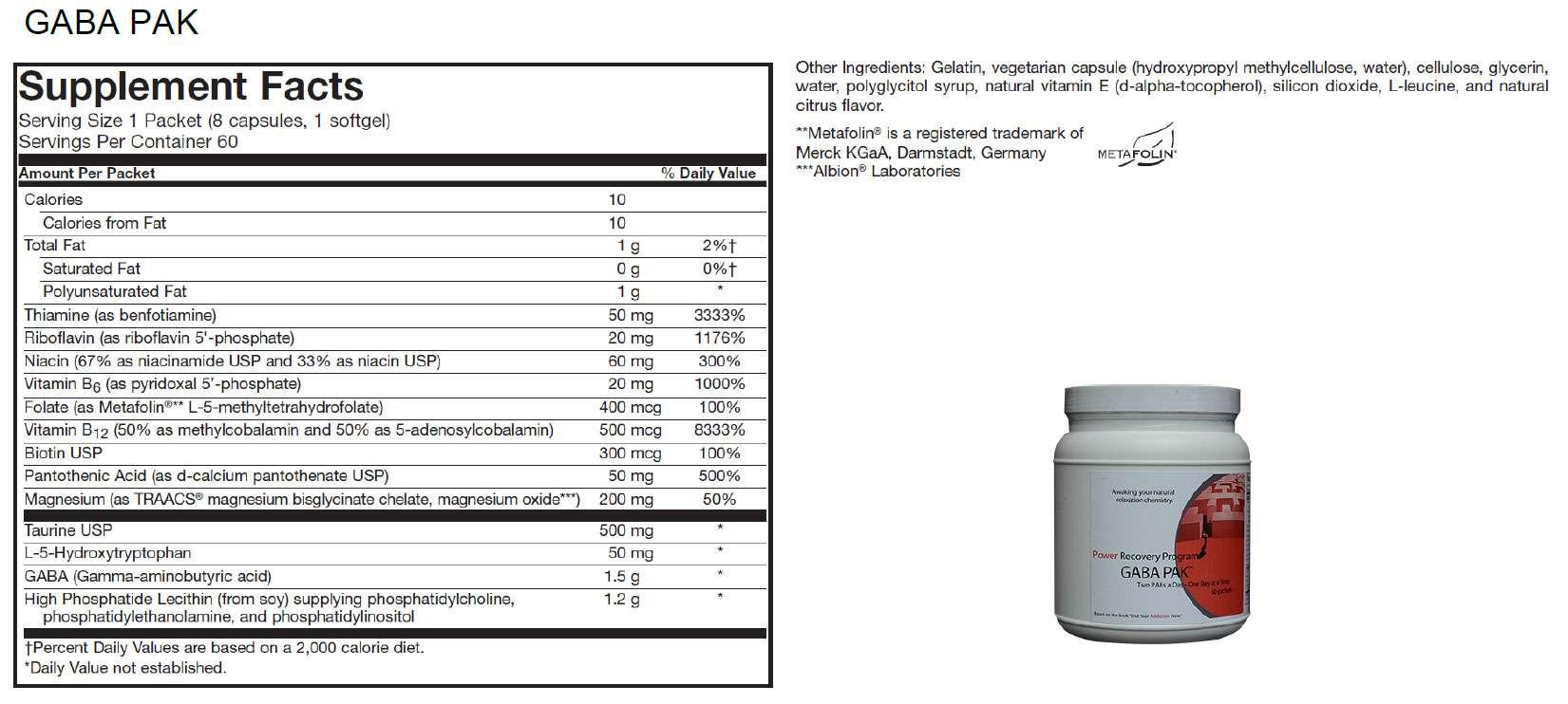 GABA-PAK-Supplement-Facts